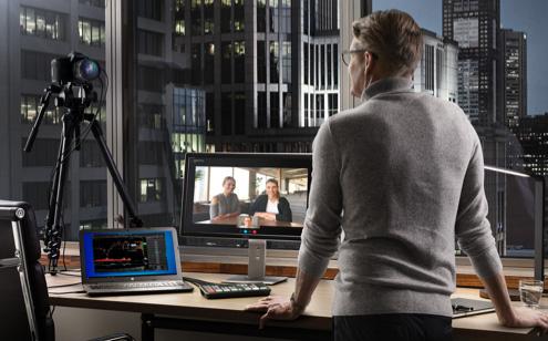 Person streaminng presentation via Skype